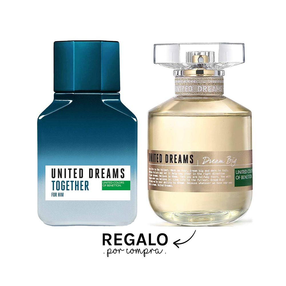 United Dreams Together For Him EDT 100 ml + Regalo United Dreams Big Her EDT 80 ml