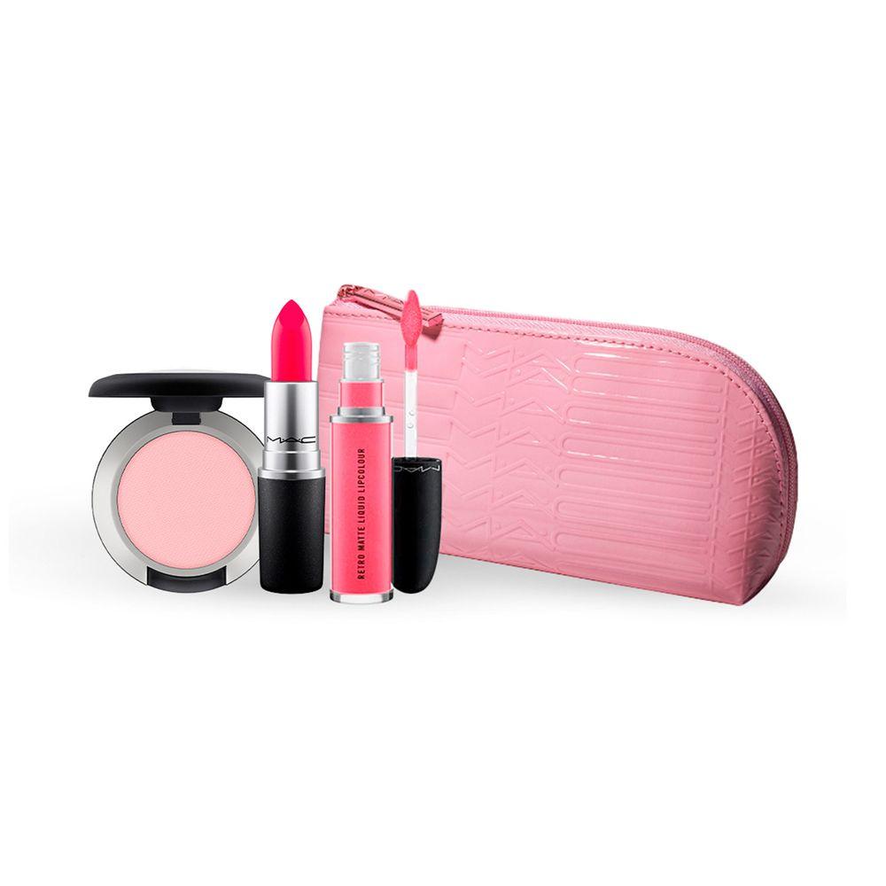 Retro Matte Liquid Lipcolour Metallic Rose + Powder Kiss, Lipstick y Portacosmetico
